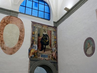 Workers at the famed Italian museum discovered two long-lost 16th-century frescoes while conducting renovations. Pictured here, a life-sized portrait of Grand Duke Cosimo II de' Medici depicts the ruler towering over two female figures who act as allegories for the cities of Siena and Florence.