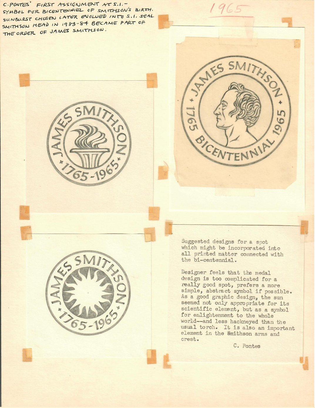 Original drawings and notes by Crimilda Pontes, 1965, Courtesy of Smithsonian Archives, 89-024_Box 4