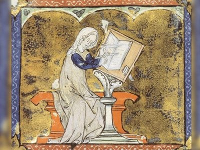 Illustration of Marie de France, poet who lived in England in the late 12th century