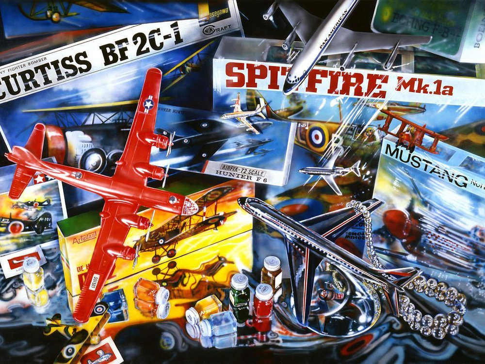 Audrey Flack, Spitfire, 1973, acrylic on canvas, 73 x 110.5 inches, Gift of Stuart M. Speiser from the Stuart M. Speiser Photorealist Collection, National Air and Space Museum.