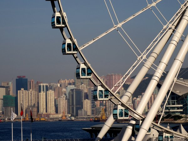 Large ferris wheel by the harbor in Hong Kong thumbnail