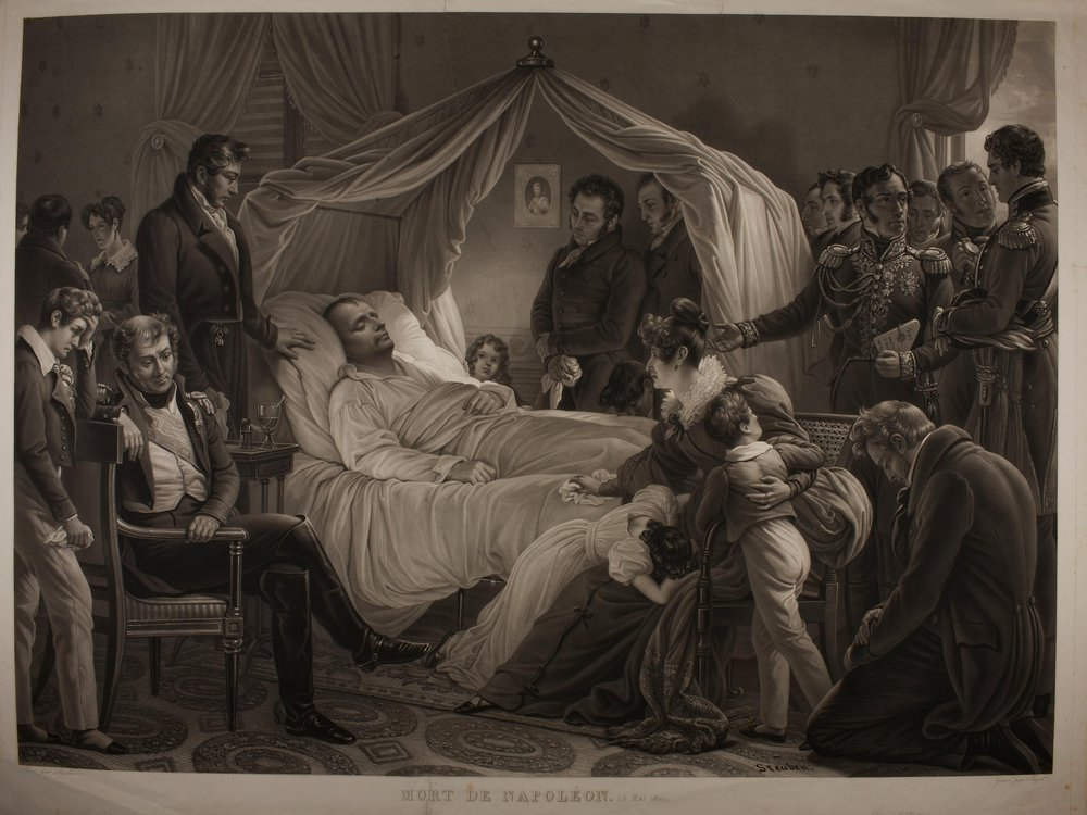 A black and white melodramatic depiction of the scene, with Napoleon on a white bed lying surrounded by grieving people