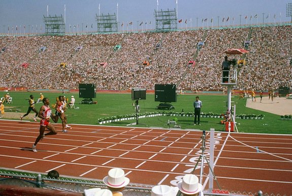 The 400 meter race on 1984 Olympic track