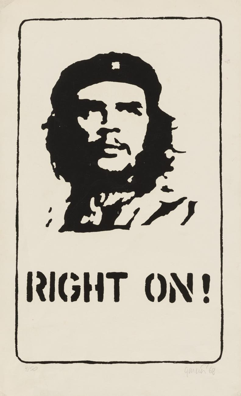 A black print of Che Guevara on an off white background