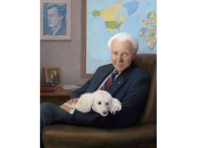 Former Foreign Affairs Committee Chairman Thomas Peter Lantos (D-Calif.) and his poodle, Gigi.