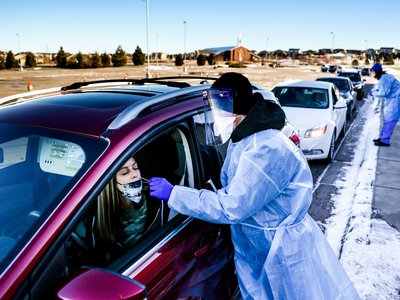 A COVID testing site at Echo Park Stadium on December 30, 2020 in Parker, Colorado. This site is nearby Ebert County, where the first case of a COVID-19 variant that is thought to be more contagious was detected in the United States.