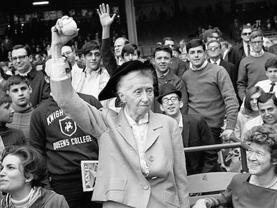 Poet Marianne Moore, 81, threw out the first pitch at the opening of the 1968 baseball season at Yankee Stadium on April 10th, against the Los Angeles Angels.