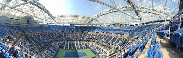 A panoromic view of Arthur Ashe tennis stadium in Flushing, New York. thumbnail