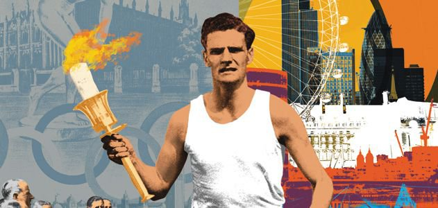 An illustration of a man holding a torch in front of artistic renderings of historic images