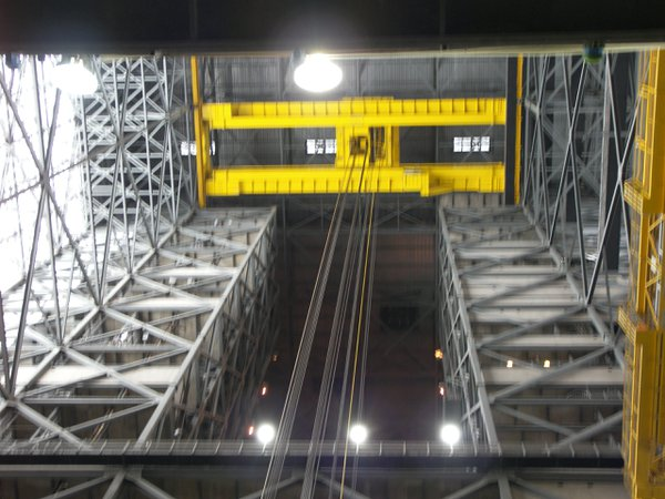 Huge crane in the VAB at Kennedy Space Center thumbnail