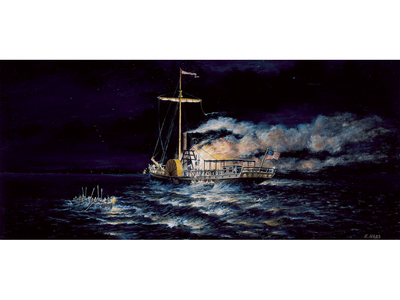 This painting depicts the night the Phoenix steamboat caught fire on Lake Champlain.