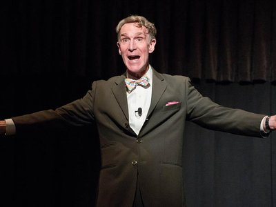 Bill Nye enthusiastically greets students and faculty at Cal State Fullerton in California earlier this year.