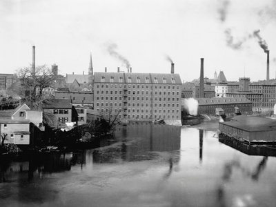 Mills and smokestacks in Lowell, Massachusetts, considered by some historians to be the first real company town in the U.S.