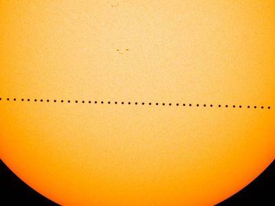 A composite image of Mercury's 2016 transit.