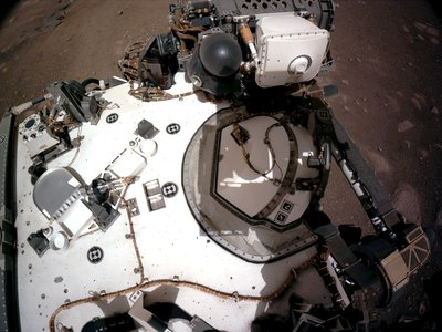 The Navigation Cameras on Perseverance capture an image of the rover's deck.