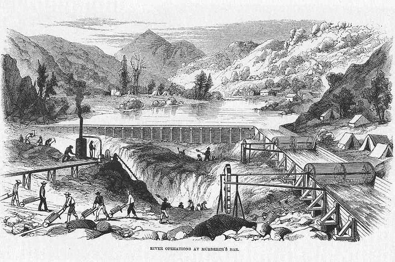 Damming and dredging a California river for gold