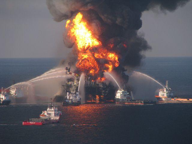 Fire-fighting boats battle the blaze at BP's Deepwater Horizon oil platform.