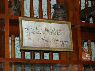 La Bodeguita del Medio, where Hemingway preferred to drink his mojitos.