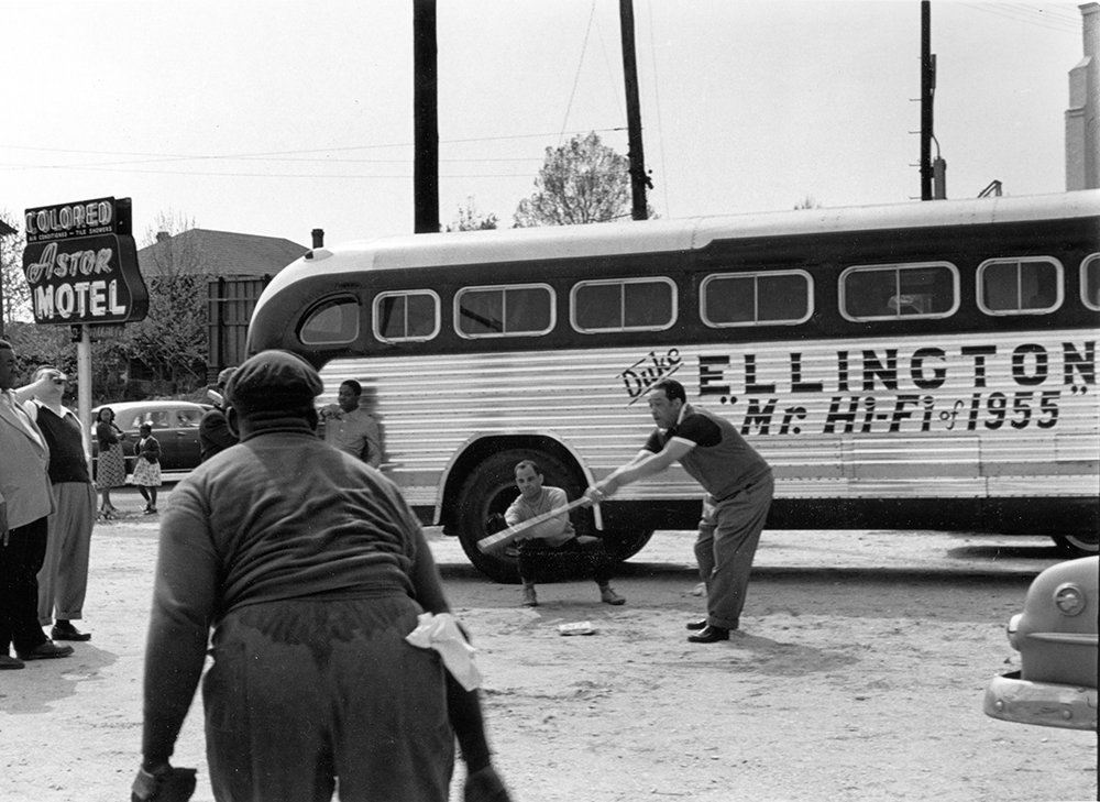 Duke Ellington and band members playing baseball
