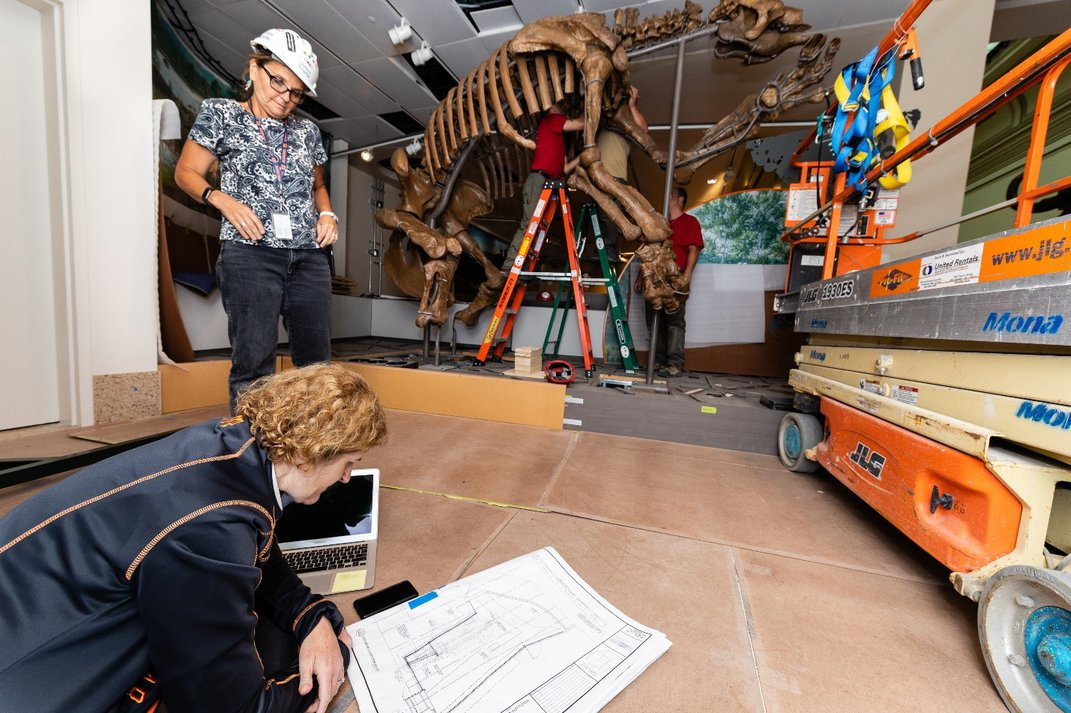 """Siobhan Starrs kneeling on the brown floor to examine a white floor plan of the Smithsonian's new """"David H. Koch Hall of Fossils - Deep Time"""""""