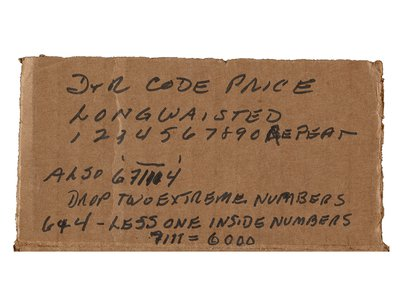 Detail of cardboard box with price code key for Winslow Homer paintings, between 1900 and 1950. Doll & Richards records, Archives of American Art, Smithsonian Institution.