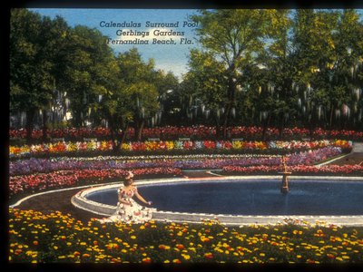 A c. 1945-1947 postcard from Florida's Gerbing Gardens depicts the sunken pool and fountain, framed in marigolds and azaleas.