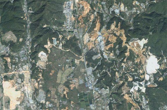 Mining operations near Longyan, Fujian Province, China.