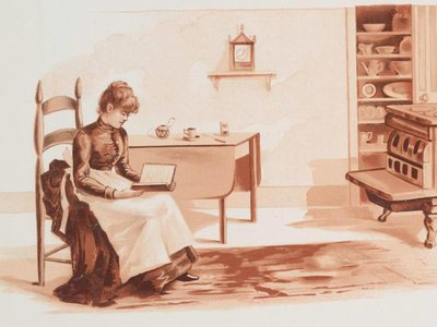 """The recipes in late 19th-century American cookbooks—precise and detailed—met the needs of cooks in a highly mobile and modern country. Image from """"Recipes: cards with text; depicting a woman in a kitchen reading, a server, meat, fish and a scale."""""""