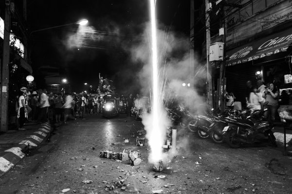 Celebrating 2015 New year in streets of Chiang Mai, Thailand thumbnail