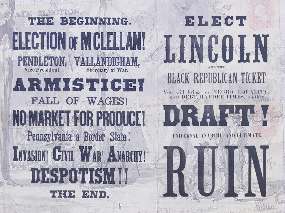 Illustration of campaign posters from 1864 presidential election