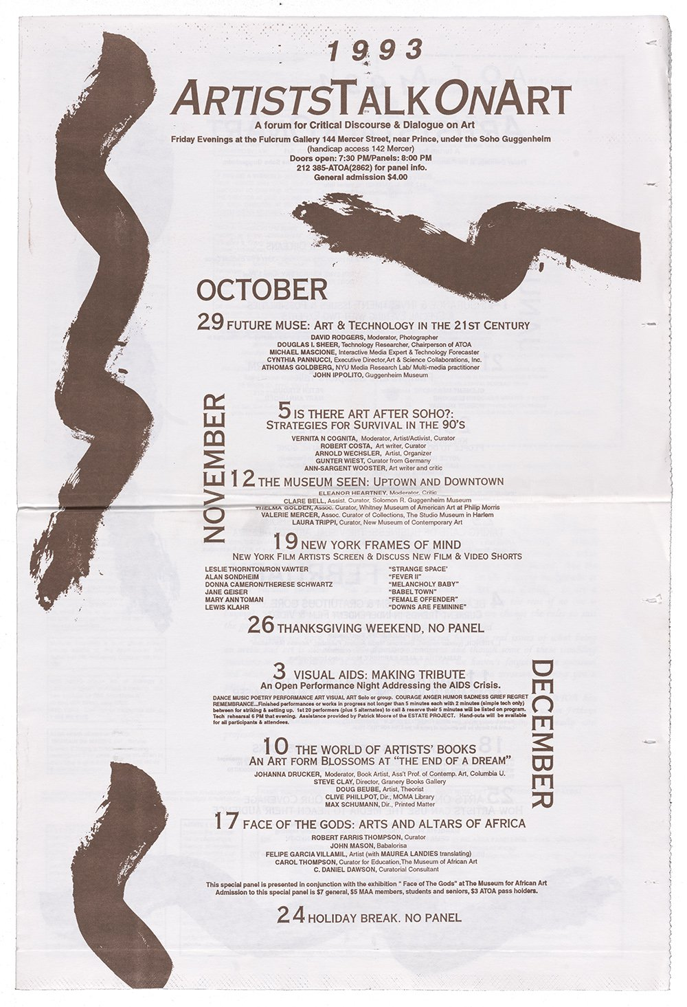 Printed flyer with brown text and illustrations resembling marks made by a paint brush on cream paper.