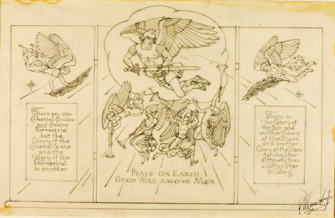 Three panel sketch of angels with text