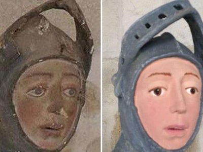 The sculpture of St. George before and after
