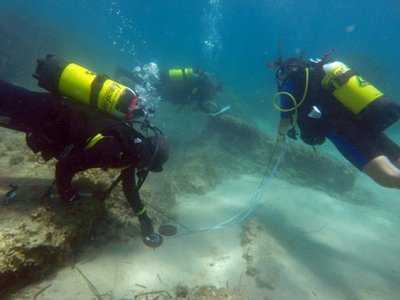 Archaeologists diving off the coast of Nabeul, Tunisia.