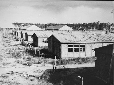Prisoner barracks at the Stutthof concentration camp, pictured here after liberation in May 1945