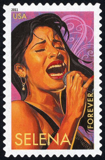 Illustration of Selena singing into a microphone