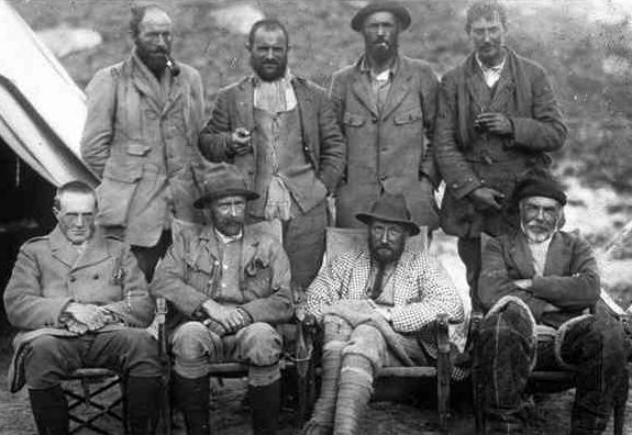 George Mallory, far right in the back row, during an Everest expedition in 1921.