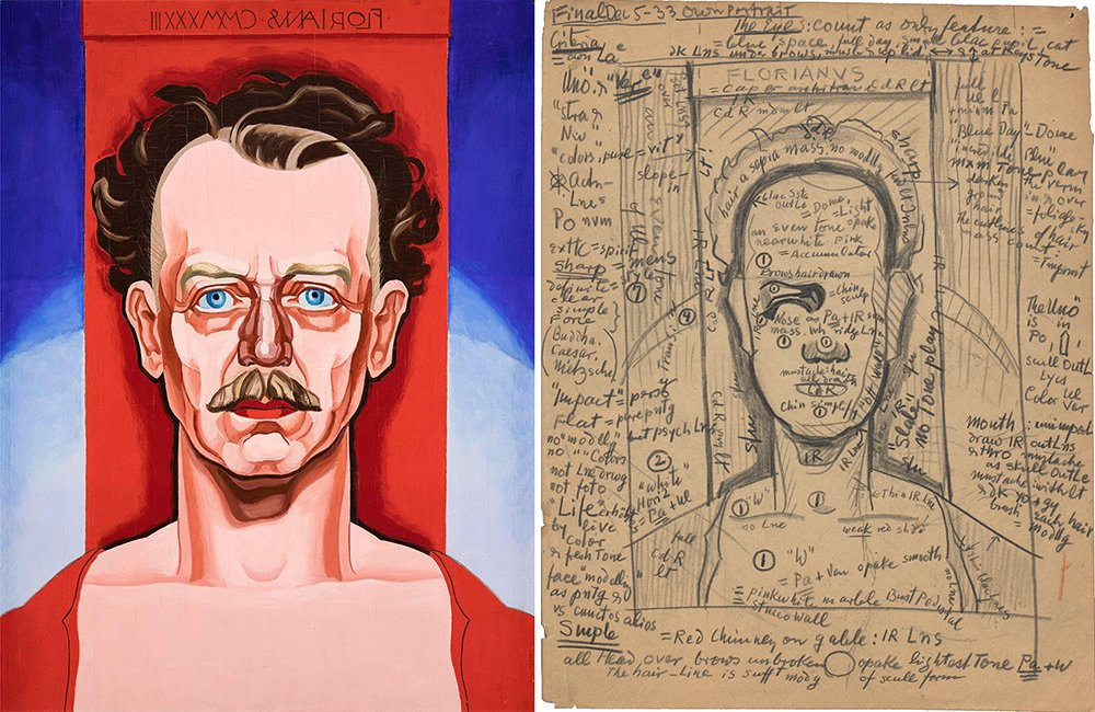 Portrait of a man in red shirt against a red, blue, and white background with writing in reverse at the top, next to  pencil sketch of the same image with extensive notes in pencil.