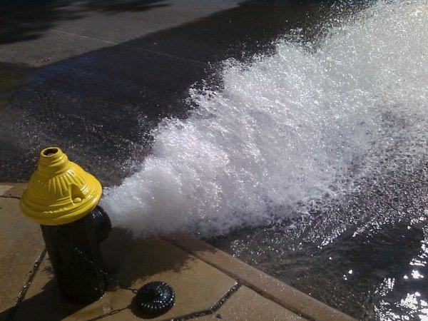 Cell phone picture of a fire hydrant in St. Louis Missouri. thumbnail