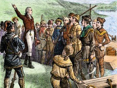 Aaron Burr exhorting his followers at Blennerhassett Island Ohio River 1805
