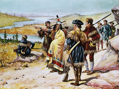 Sacajawea guiding the expedition from Mandan through the Rocky Mountains. Painting by Alfred Russell.