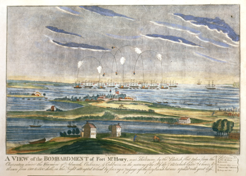 Print of the bombardment of Fort McHenry