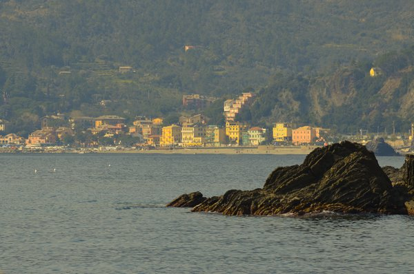 Looking at a city in Cinque Terre, Itay from a port. thumbnail