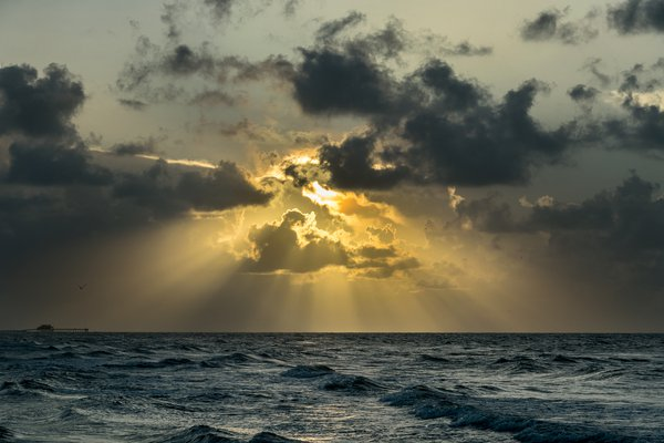 Sunbeams at Sunrise, Galveston TX thumbnail