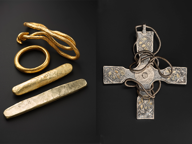 Gold artifacts and an Anglo-Saxon cross