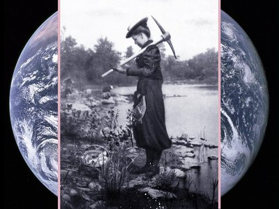 Baber gathering fossils at Mazon Creek, Illinois, 1895, during the first field class at the University of Chicago to which women were admitted.