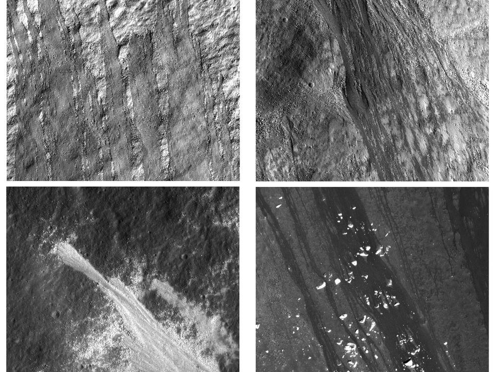 Dark and light streaks on crater walls, Moon