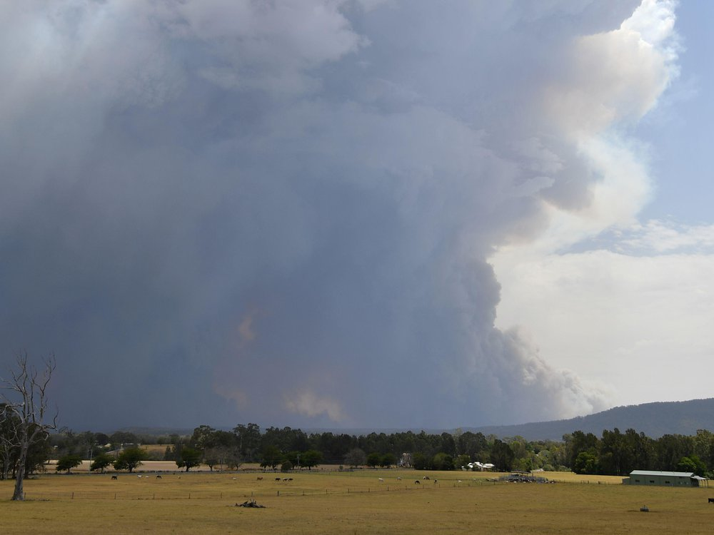 Smoke rising over field near ton of Nowra in New South Wales, Australia