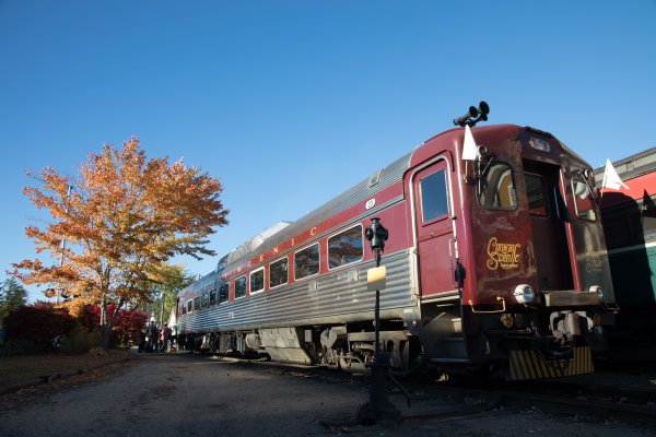 "Conway Scenic Railroad's 1952 RDC-1 ""Millie"" at a station stop thumbnail"