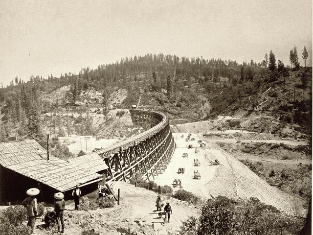 Chinese railroad workers near the Secret Town Trestle in Placer County, California, around 1869